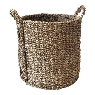 Rustic Round Seagrass Basket With Handles For Sale