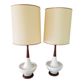 1950s Mid Century Atomic White Ceramic and Walnut Table Lamps With Shades - a Pair For Sale
