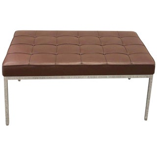 Florence Knoll Button Tufted Leather and Chrome Bench