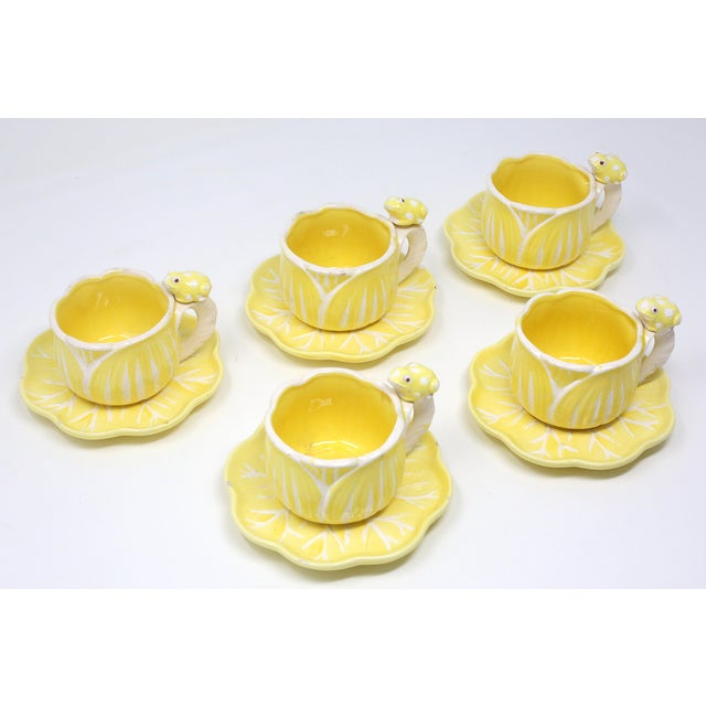 Vintage Hand-Painted Yellow and White Flower and Frog Espresso Cups and Saucers - Set of 12 For Sale - Image 13 of 13