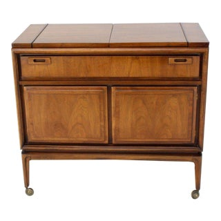 Danish Mid-Century Modern Walnut Flip Top Server Bar For Sale