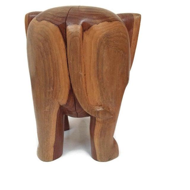 Vintage Carved Wood Elephant Pedestal Statue 11 Inch For Sale - Image 9 of 12