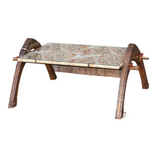 Silk Top Oxcart Coffee Table For Sale