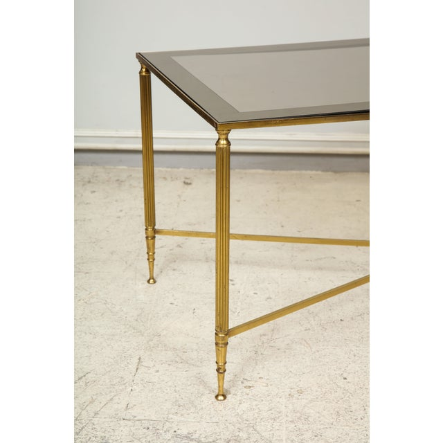 Rectangular Brass Coffee/Cocktail Table With Smoked Glass on Stretcher Base For Sale - Image 4 of 11