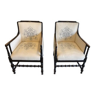 Early 20th Century Vintage French Antique Bergere Chairs- A Pair For Sale
