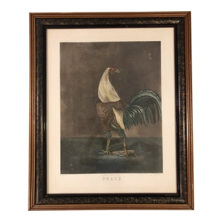 """Late 19th Century """"Peace"""" Rooster Engraving, Framed For Sale"""