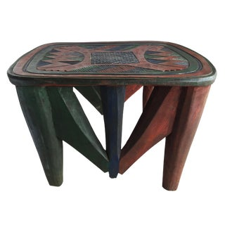 "African Lg Colorful Nupe Stool / Table Nigeria 15.75"" H by 23"" W For Sale"