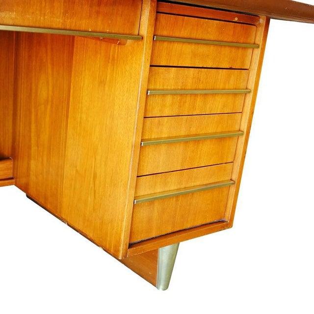Mid-Century Mahogany Executive Desk With Brass Pulls - Image 7 of 10
