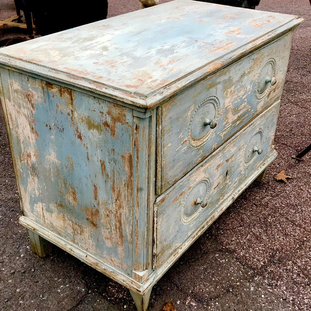 Shabby Chic 19th C. Swedish Painted Chest of Drawers For Sale - Image 3 of 4