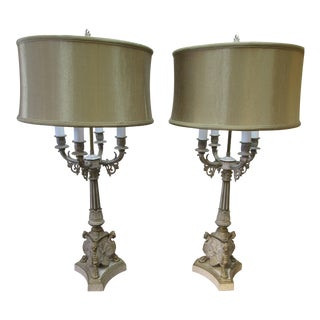 Vintage Greek Revival Style Gray & Gold Lamps - a Pair For Sale