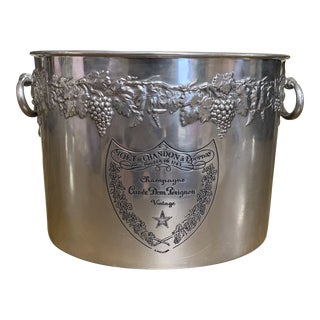 Vintage 1960s Mid-Century Modern Dom Perignon Oval Metal Champagne Bucket For Sale