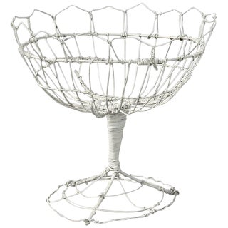 White French Wirework Basket Sculpture For Sale