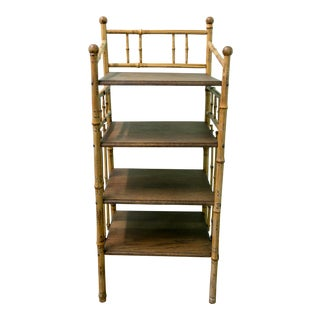 1930s Cottage Bamboo Primitive Brown Storage Stand Bookcase