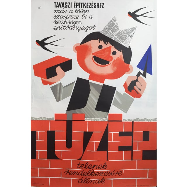 Mid-Century Modern 1966 Vintage Hungarian Building Poster For Sale - Image 3 of 3