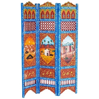 Moorish Hand-Painted Oasis Room Divider For Sale
