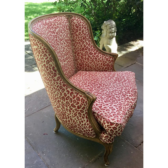 1940s Louis XV Style French Accent Chair Upholstered in Red Leopard Fabric For Sale - Image 4 of 8