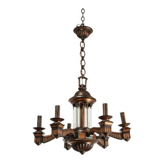 1920s American Bronze and Glass Neoclassical Chandelier For Sale