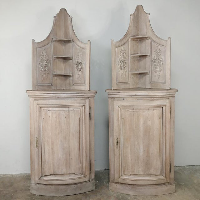 Pair 19th Century Country French Stripped Oak Corner Cabinets For Sale - Image 13 of 13