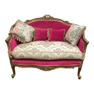 French Style Reproduction Loveseat & Pillows For Sale