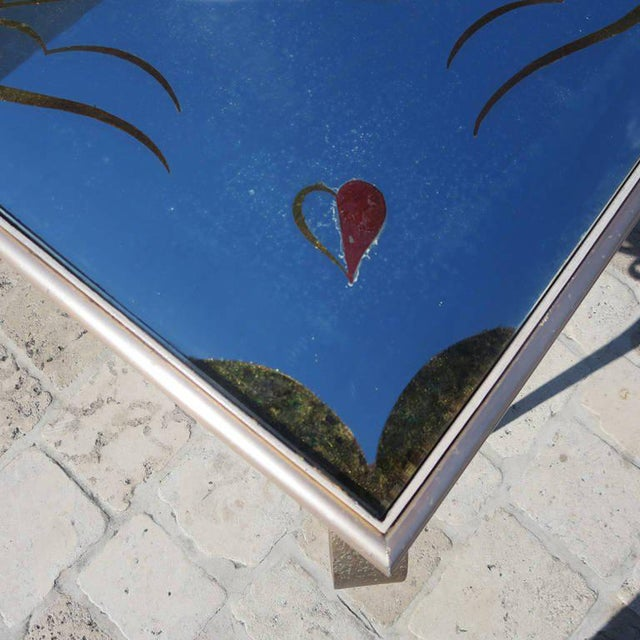 1940s Églomisé Mirrored Game Table in the Manner of Rene Drouet For Sale - Image 5 of 9