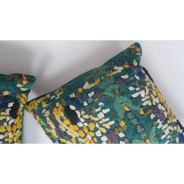 Velvet Beaded Throw Pillows - A Pair - Image 5 of 7
