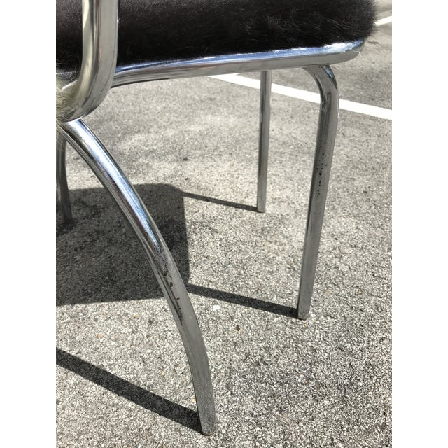 Cowhide Upholstered Chrome Chairs - Set of 4 For Sale - Image 10 of 11