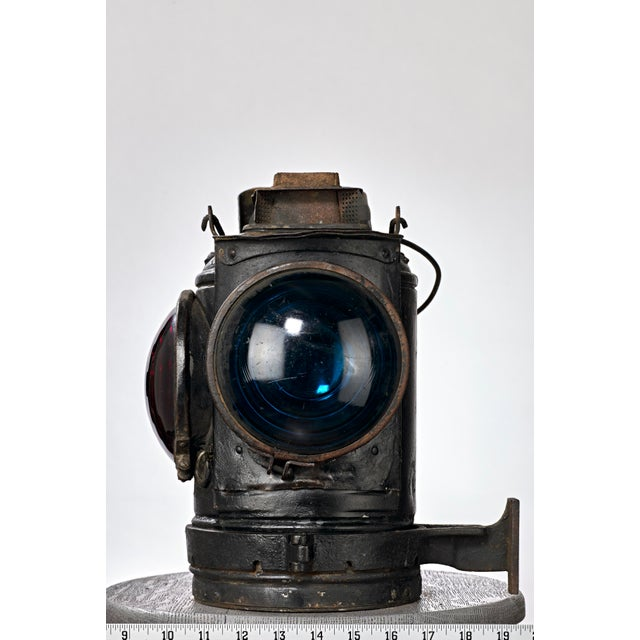 Late 19th Century Three Lens Adlake Railroad Switching Lantern/Light For Sale - Image 5 of 12