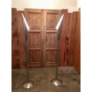 Mid 20th Century Modernist Aluminum Torchère Floor Lamps - a Pair Preview