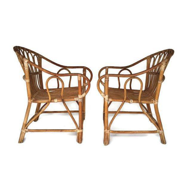 Mid Century Modern Bamboo Chairs Sculpted Bent Bamboo Franco Albini Style - a Pair For Sale - Image 11 of 11