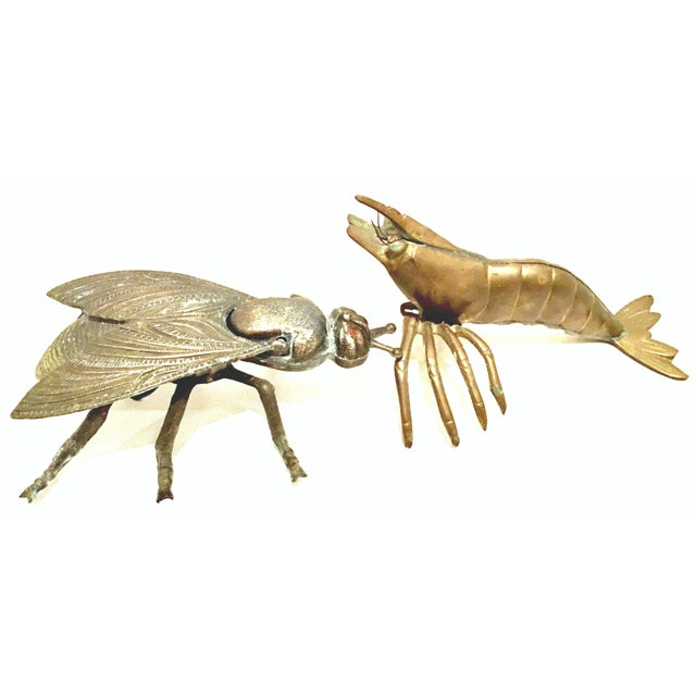 Mid-20th Century Art Nouveau Iron & Brass Figural Fly & Shrimp Sculpture-a Pair For Sale - Image 13 of 13