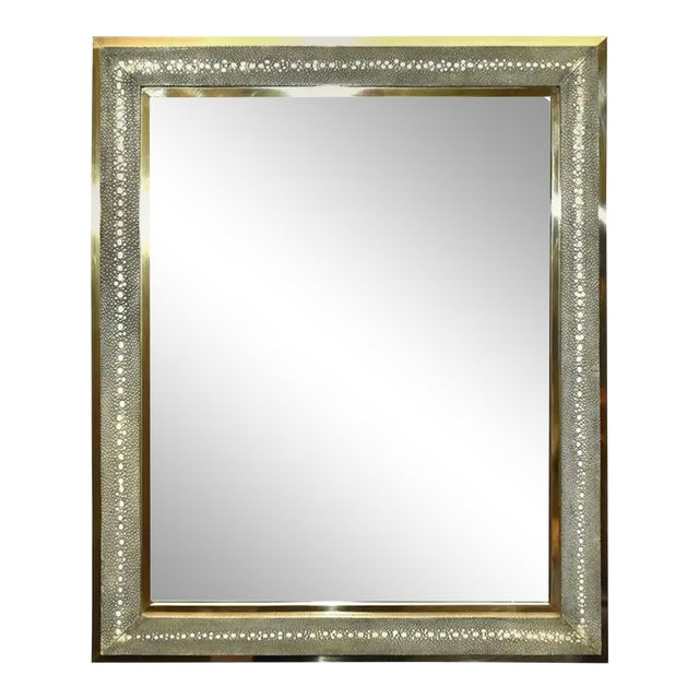 Celadon Shagreen Wall Mirror For Sale