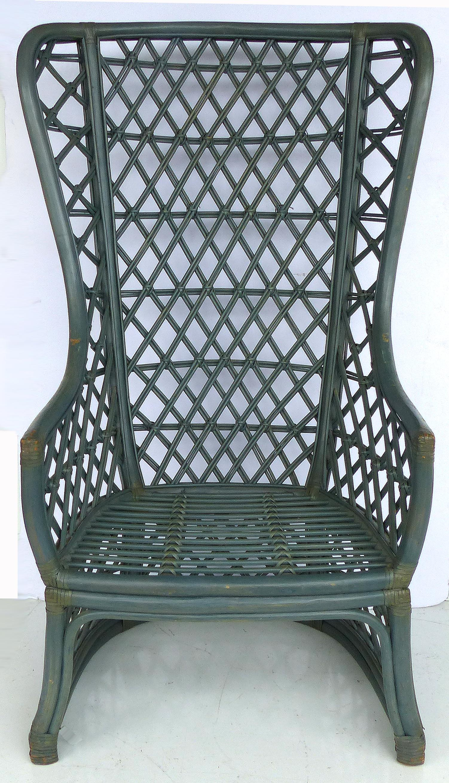 Brown Jordan Vintage High Back Painted Rattan Chairs  A Pair   Image 3 Of 11