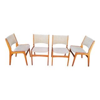 Henning Kjaernulf Attributed Teak Danish Modern Dining Chairs - Set of 4 For Sale