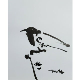Contemporary Minimalist Ink Drawing of a Bird by Jose Trujillo For Sale