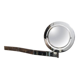 Adjustable Wall-Mounted 'Saturn Mirror' in Chrome For Sale