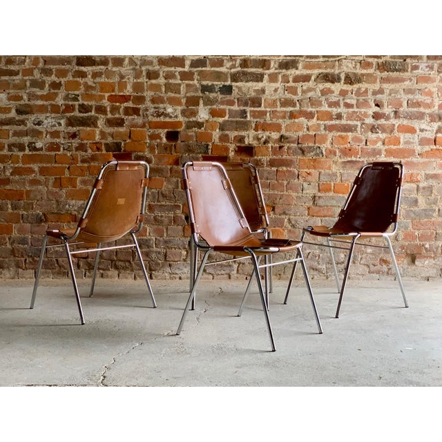 Les Arcs Leather Tan Dining Chairs, 1970s - Set of 4 For Sale - Image 9 of 11