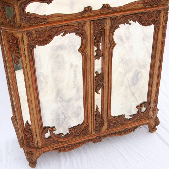 Louis XV Mirrored & Carved Oak Cabinet - Image 3 of 11