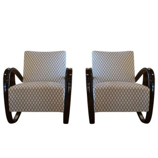 20th Century Beechwood Lounge Chairs by Jindrich Halabala - a Pair For Sale
