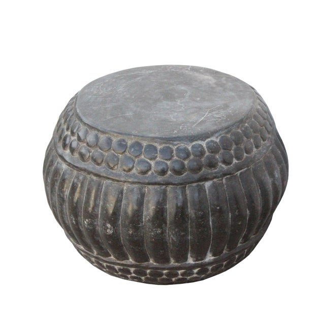 Chinese Gray Stone Carved Round Simple Relief Pattern Stand For Sale - Image 4 of 7