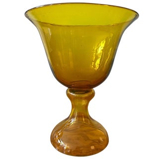 Large Blenko Glass Chalice Form Pedestal Vase For Sale