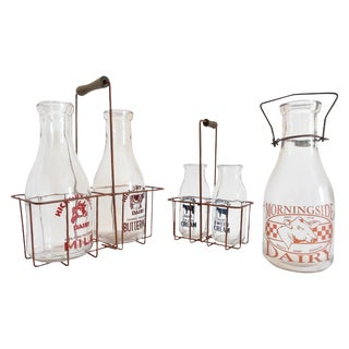 Vintage Milk Bottles & Metal Carriers - Set of 3 For Sale