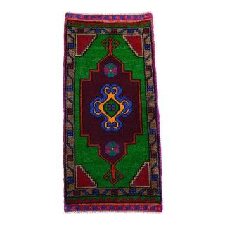 "Hand Made Oushak Rug. Colorful Mini Rug, Bath Mat, Kitchen Sink Decor 1'6"" X 3'1"" For Sale"