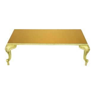 Louis XV Style Coffee Table With Copper Mirror Top For Sale
