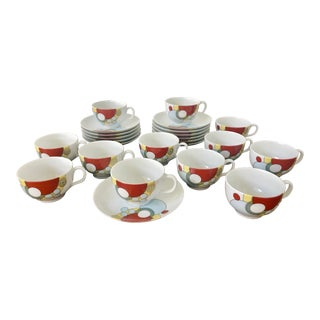 1984 Frank Lloyd Wright Imperial Hotel Noritake Tea/Coffee Cups and Saucers - Set of 12 For Sale