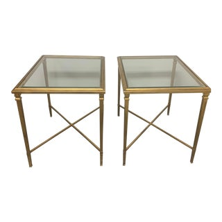 Regency Ethan Allen Heron Gold Leaf Steel and Tempered Glass Rectangular End Tables - a Pair For Sale