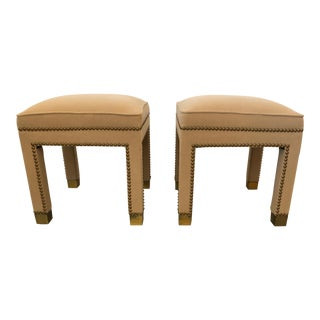 Mid Century Modern Parsons Style Camelhair Ottomans- A Pair For Sale