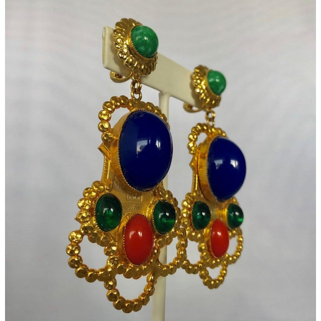 Egyptian Revival Gold Egyptian Revival Ornate Statement Earrings For Sale - Image 3 of 7