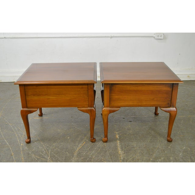 Harden Furniture Harden Solid Cherry Pair of Vintage Square Queen Anne End Tables For Sale - Image 4 of 10