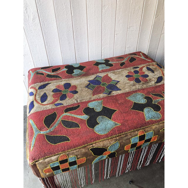 This is an incredible piece of Nigerian Yoruba beaded furniture. It can act as a large ottoman or coffee table. The...