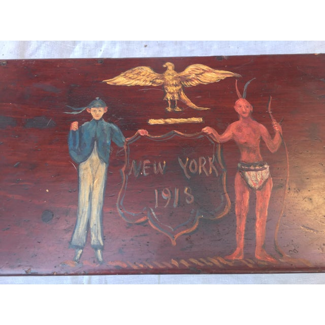 Antique Wooden Box W/Colonial Crest For Sale - Image 4 of 10